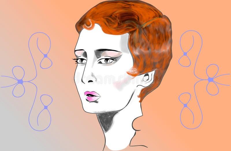 Download La cara de una mujer joven stock de ilustración. Ilustración de ilustraciones - 100531910