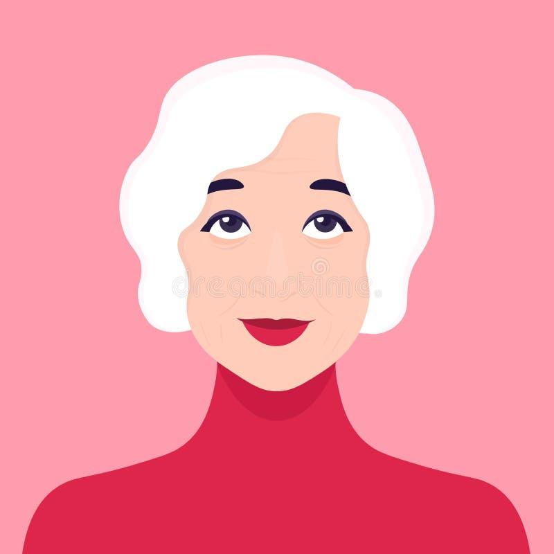 La cara de una mujer mayor Sueño Retrato avatar Ilustración del vector libre illustration