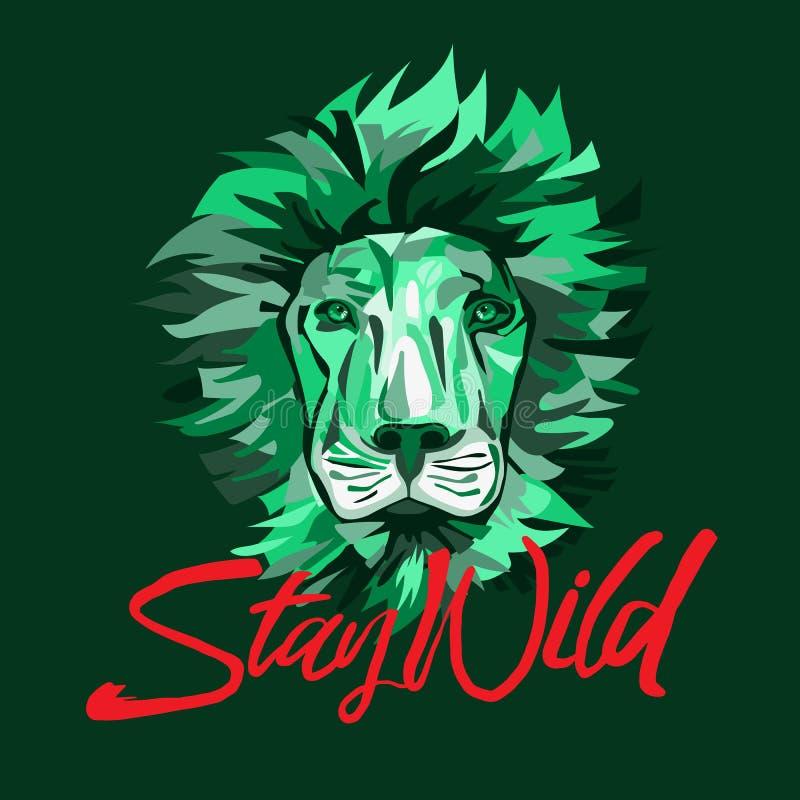 La cara del león, permanece el lema salvaje, camiseta gráfica, diseño impreso Impresión de la camiseta libre illustration