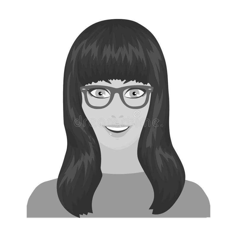La cara del ` s de la muchacha está llevando los vidrios La cara e icono del aspecto el solo en estilo monocromático vector el ej ilustración del vector