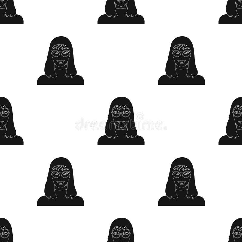 La cara del ` s de la muchacha está llevando los vidrios La cara e icono del aspecto el solo en estilo negro vector el web común  ilustración del vector