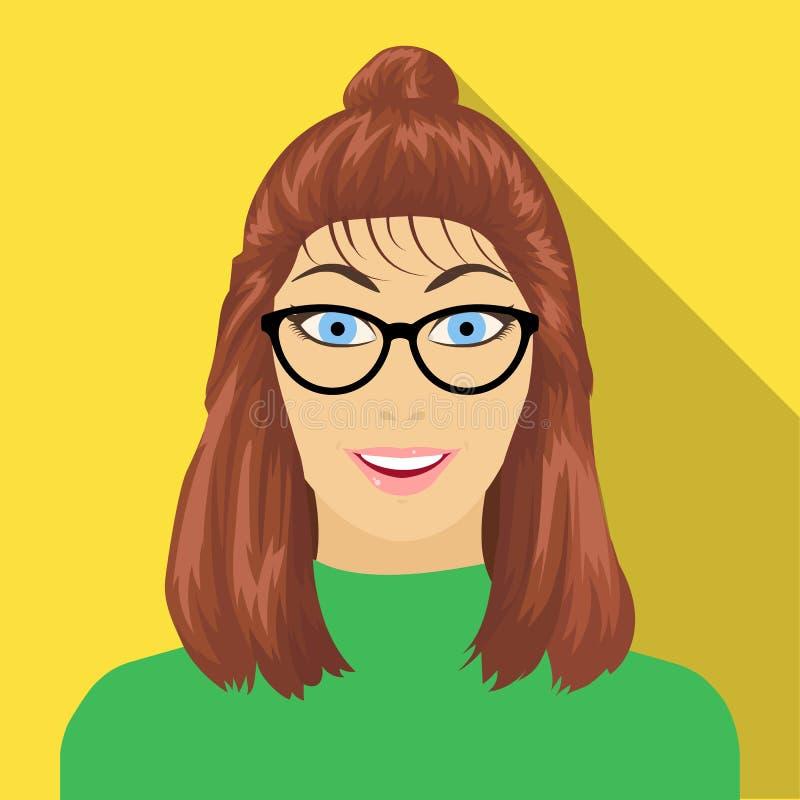 La cara del ` s de la muchacha está llevando los vidrios La cara e icono del aspecto el solo en estilo plano vector el web común  stock de ilustración