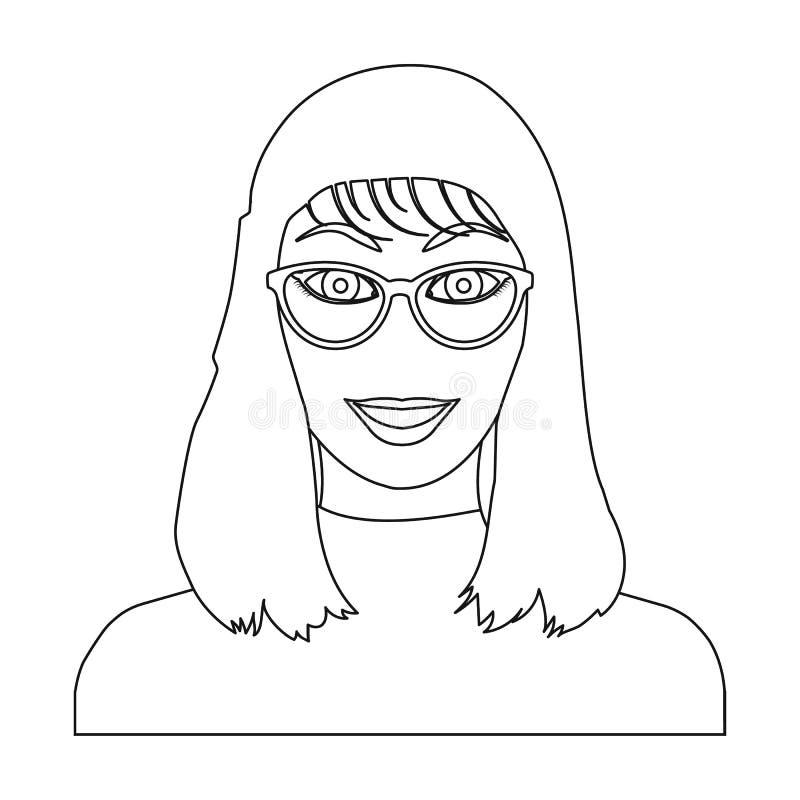 La cara del ` s de la muchacha está llevando los vidrios La cara y el aspecto en símbolo del vector almacenan el ejemplo ilustración del vector