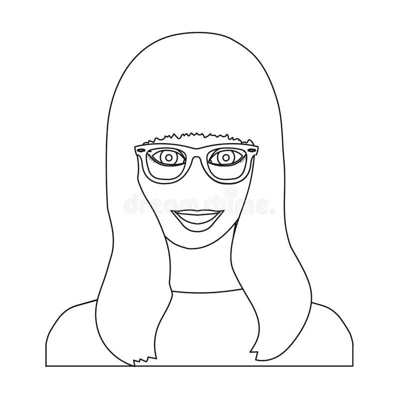 La cara del ` s de la muchacha está llevando los vidrios La cara y el aspecto en símbolo del vector almacenan el ejemplo libre illustration