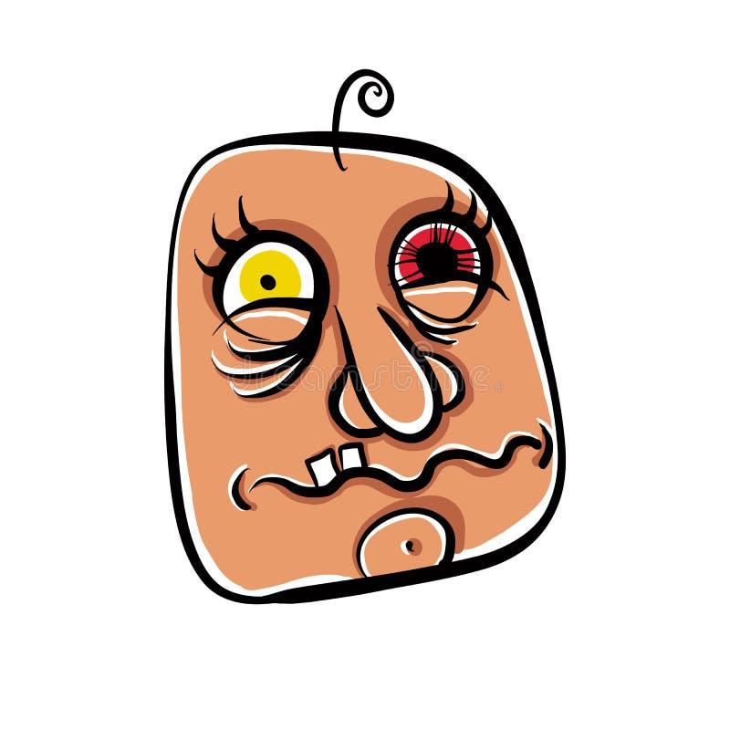 La cara extraña de la historieta, retrato loco absoluto del zopenco, vector enfermedad ilustración del vector