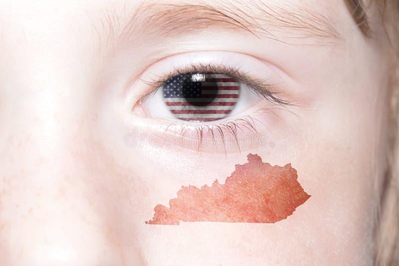 La cara humana del ` s con la bandera nacional del estado de los Estados Unidos de América y de Kentucky traza imagen de archivo