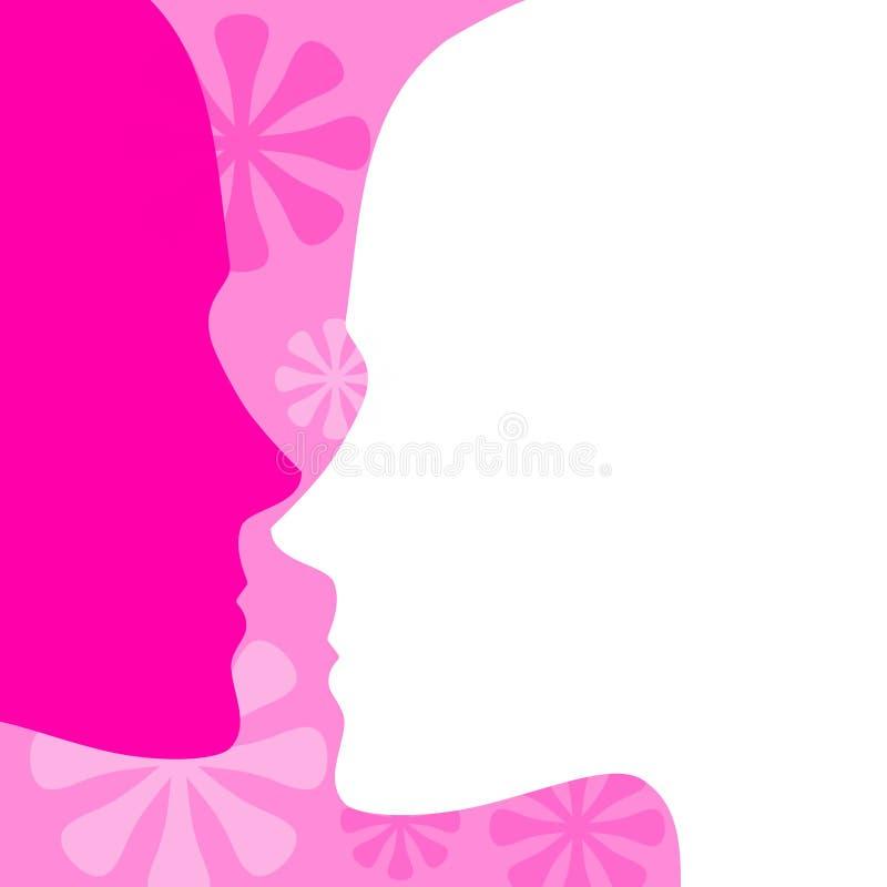 La cara rosada femenina perfila el fondo ilustración del vector