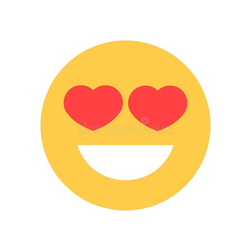 La cara sonriente amarilla de la historieta con forma del corazón observa el icono de la emoción de la gente de Emoji stock de ilustración