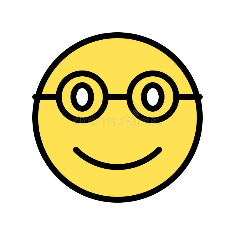 La cara sonriente con el ejemplo del vector de los vidrios, llenó el esquema editable del icono del estilo ilustración del vector