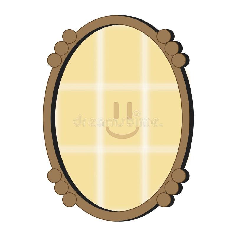 La cara sonriente en el espejo stock de ilustración