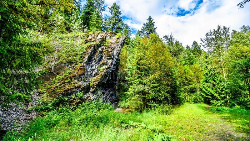 La caractéristique de roche le long du sentier de randonnée à Whitecroft tombe en Colombie-Britannique, Canada images libres de droits