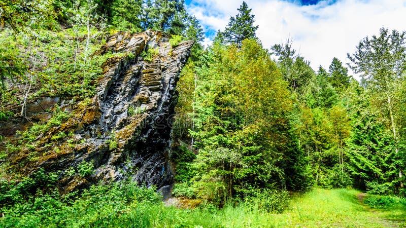 La característica de la roca a lo largo de la pista de senderismo a Whitecroft cae en la Columbia Británica, Canadá imágenes de archivo libres de regalías