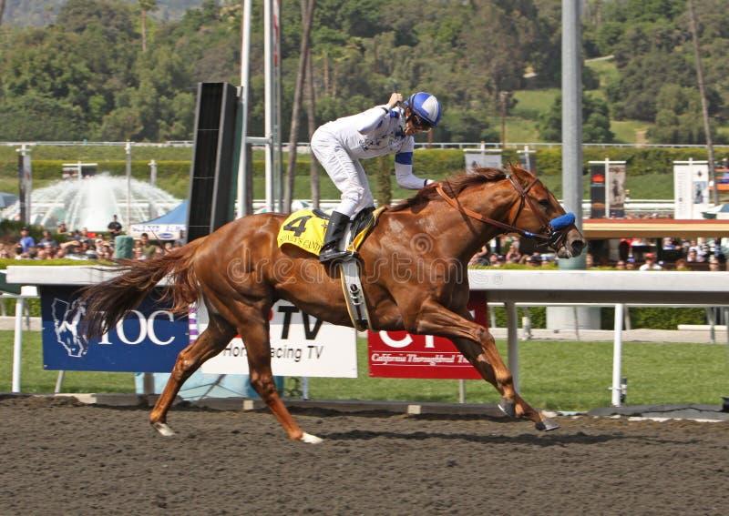 La caramella del Sidney vince la Santa Anita Derby immagine stock libera da diritti