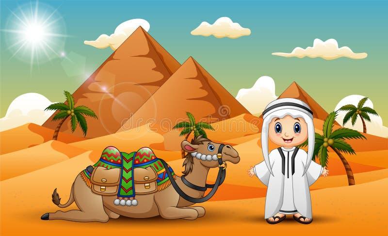 La caravana está reuniendo camellos en el desierto stock de ilustración