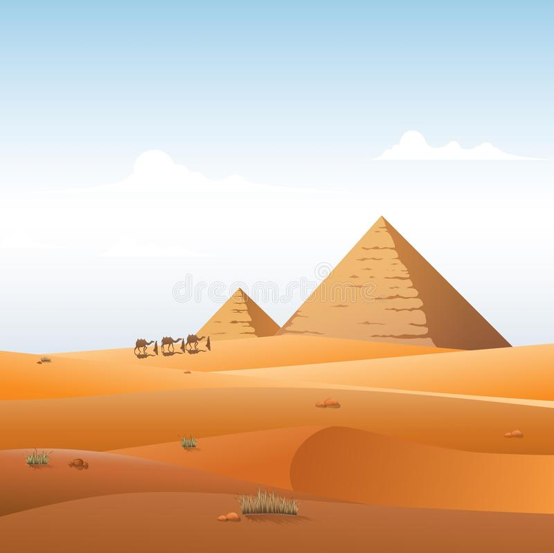 La caravane de chameau en pyramides sauvages de l'Afrique aménagent le fond en parc illustration de vecteur
