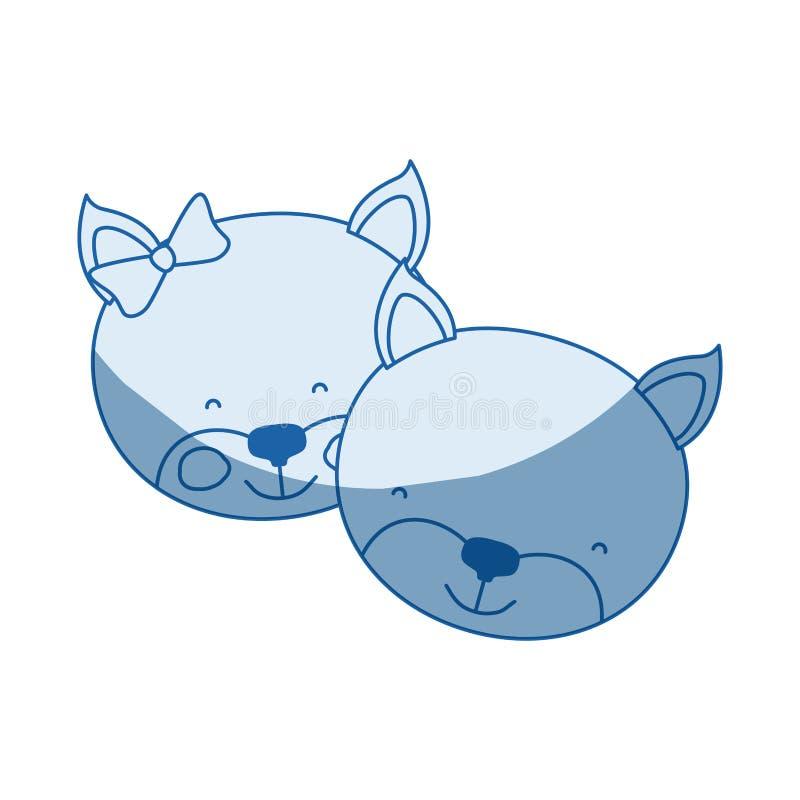 La caricatura blu della siluetta di ombreggiatura di colore affronta dell'espressione animale di felicità delle coppie del gattin illustrazione vettoriale