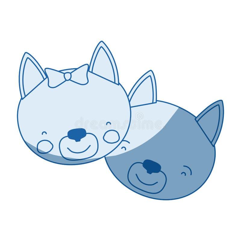 La caricatura blu della siluetta di ombreggiatura di colore affronta dell'espressione animale di felicità delle coppie del gatto illustrazione vettoriale