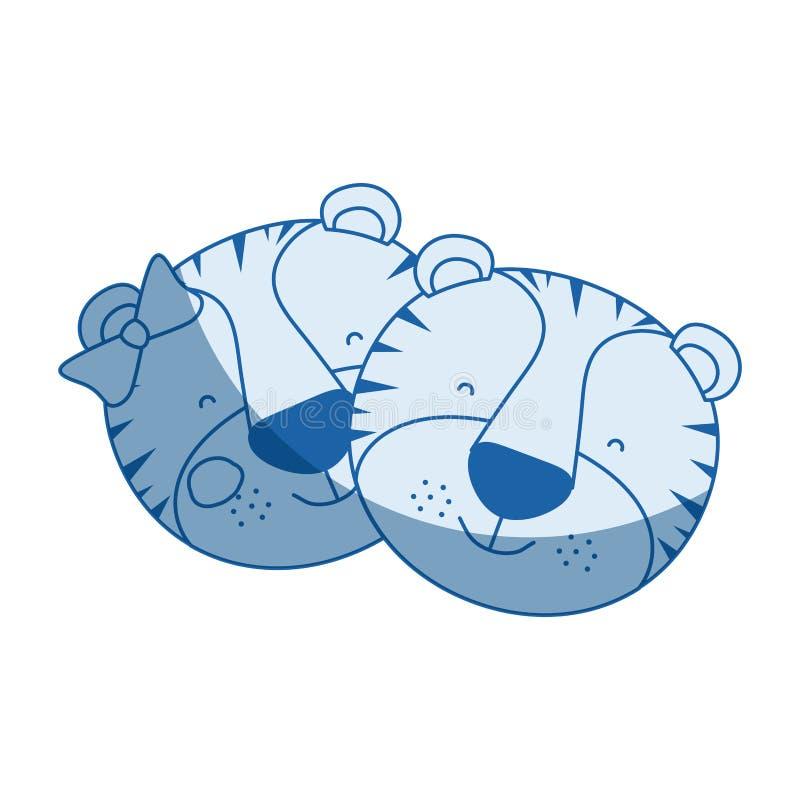 La caricatura blu della siluetta di ombreggiatura di colore affronta dell'espressione animale di felicità delle coppie della tigr illustrazione vettoriale