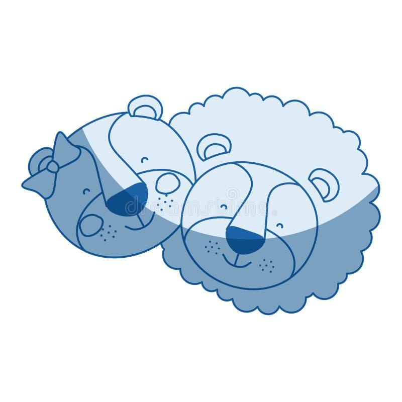 La caricatura blu della siluetta di ombreggiatura di colore affronta dell'espressione di felicità del leone e della leonessa dell royalty illustrazione gratis