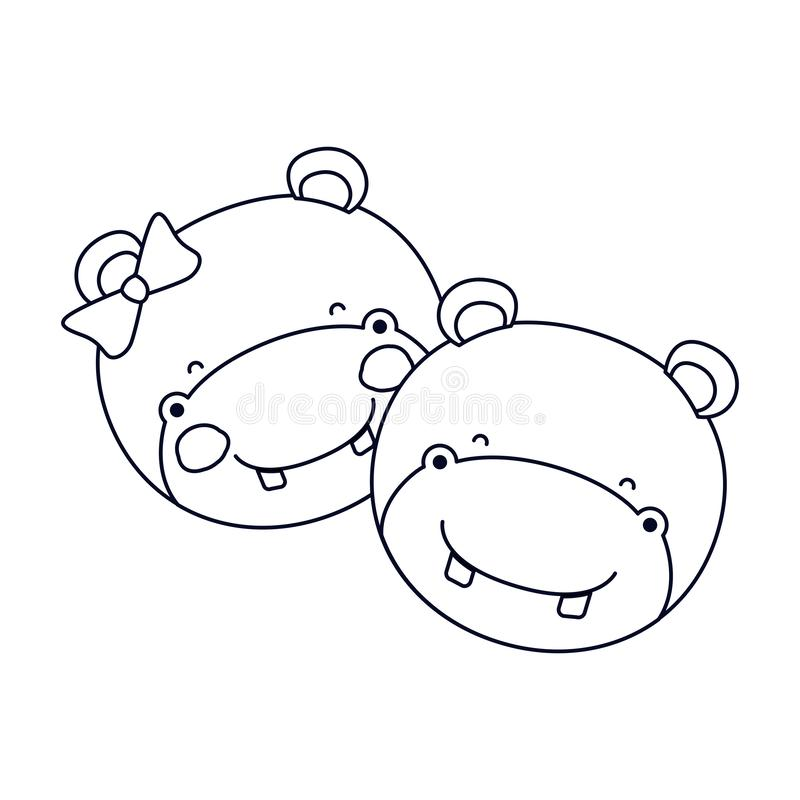 La caricatura della siluetta di schizzo affronta dell'espressione animale di felicità delle coppie dell'ippopotamo illustrazione di stock