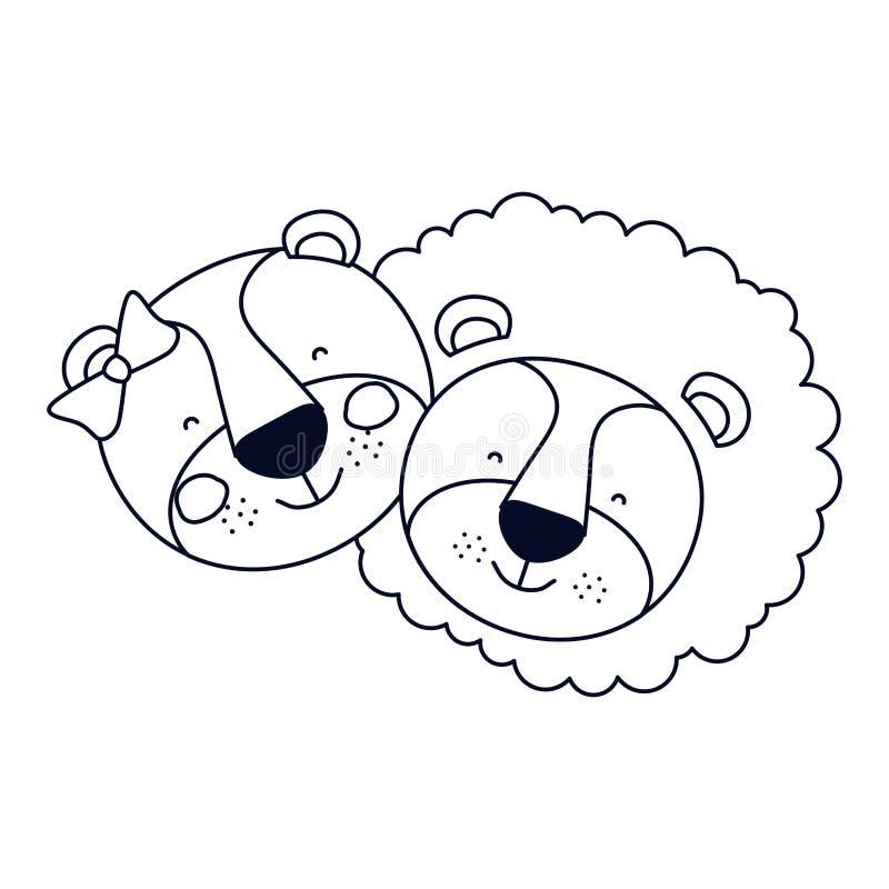 La caricatura della siluetta di schizzo affronta l'espressione di felicità del leone e della leonessa delle coppie royalty illustrazione gratis