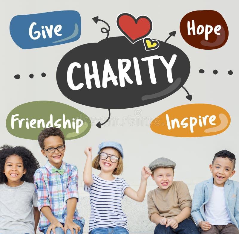 La caridad da concepto de la ayuda del voluntario del cuidado de la ayuda fotografía de archivo