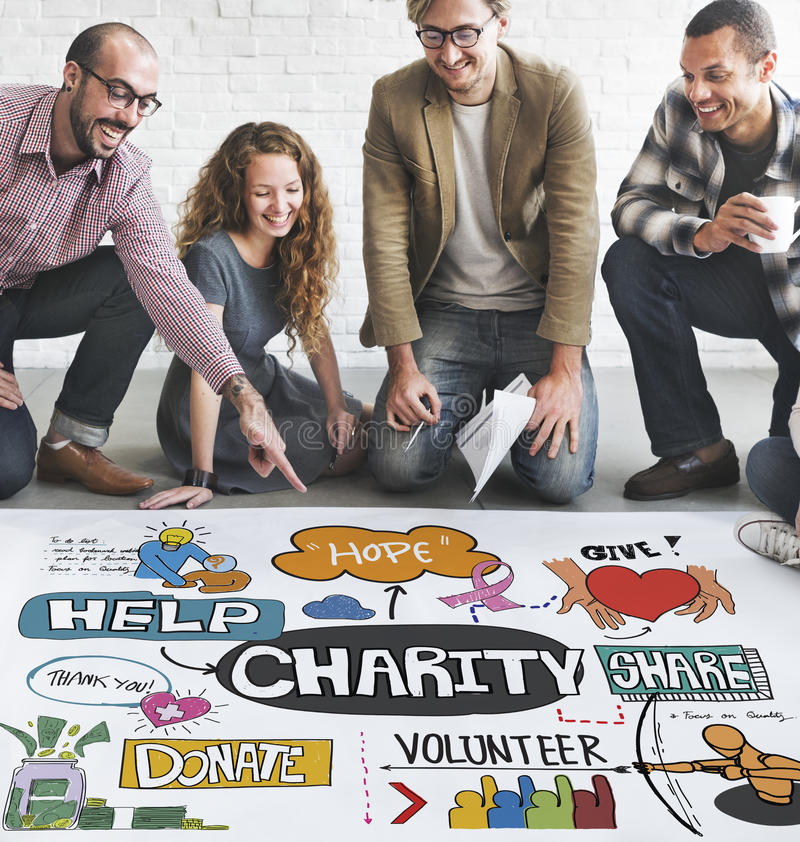 La caridad dona da concepto de la ayuda de la esperanza imágenes de archivo libres de regalías