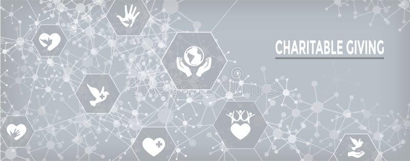 La caridad y el alivio trabajan - la bandera de donante caritativa del web con el icono stock de ilustración