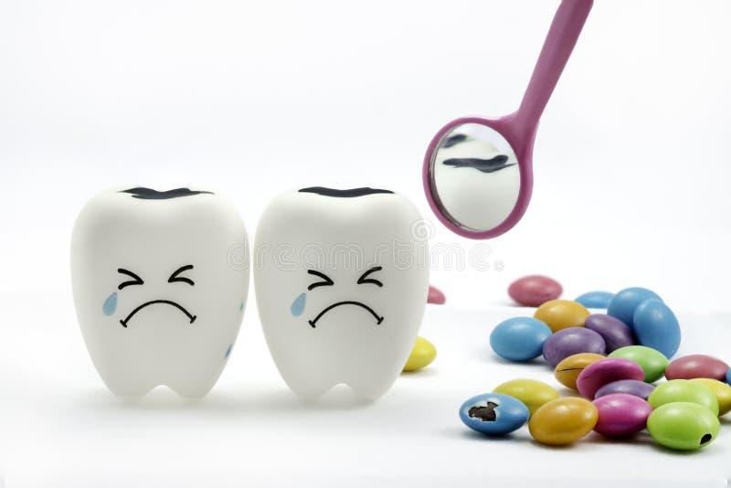 La carie dentaire pleure avec le miroir dentaire images libres de droits