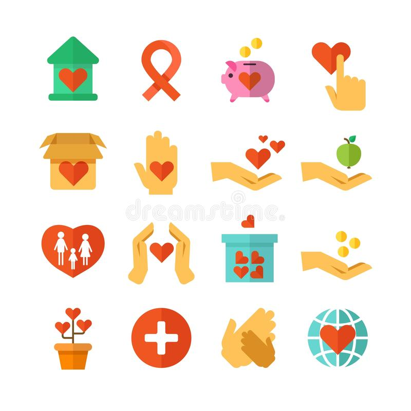 La carità, aiuto sociale, soldi dona, finanziamento senza scopo di lucro, icone generose di vettore delle mani royalty illustrazione gratis