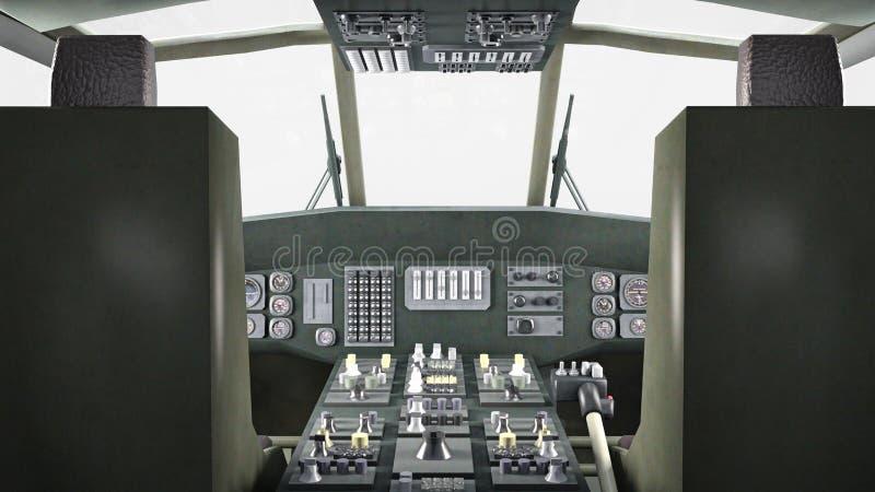 La carlinga del helicóptero en vuelo, los aviones militares, interruptor del ejército aislado en el fondo blanco, 3D rinde ilustración del vector