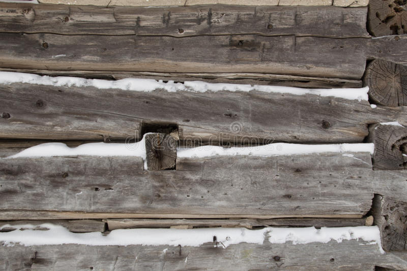 La carlingue de rondin a scié des rondins pour acculer le plan rapproché avec la neige dans l'intervalle image libre de droits
