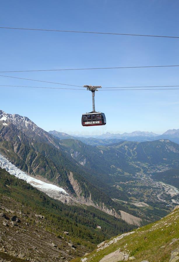 La carlingue inférieure du funiculaire d'Aiguille du Midi, Chamonix images stock