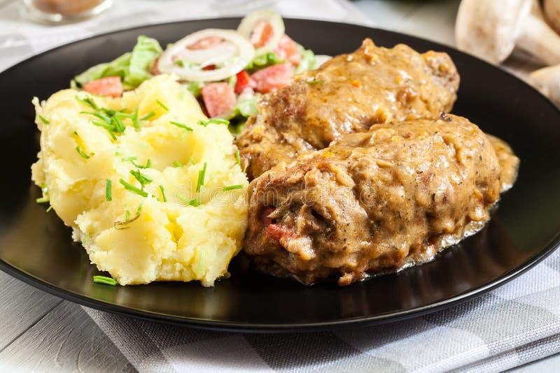 La carne di maiale arriva a fiumi la salsa fotografie stock libere da diritti