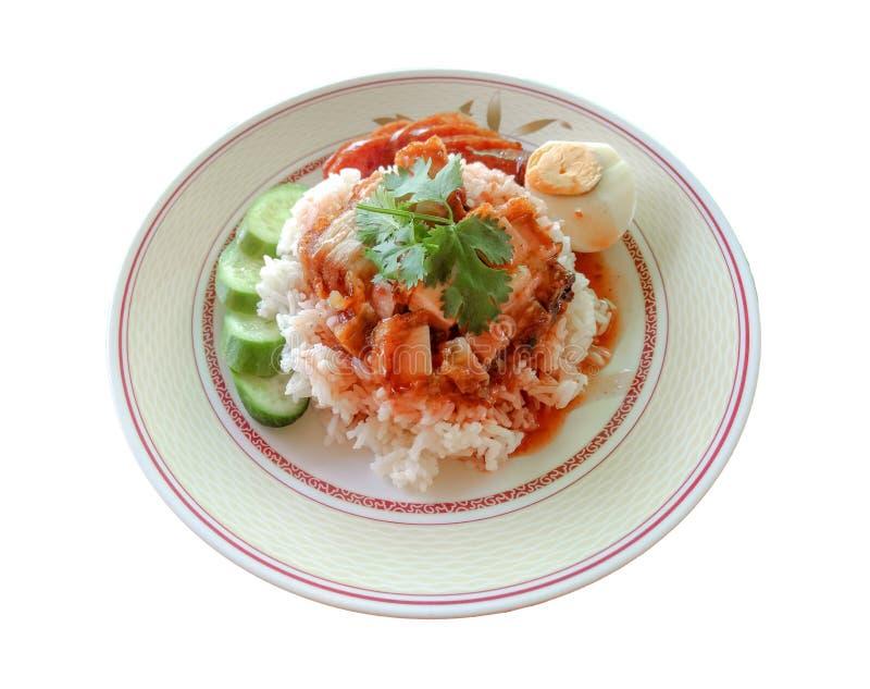 La carne di maiale del riso ha fritto la carne di maiale del fermento e la carne di maiale croccante fotografia stock libera da diritti