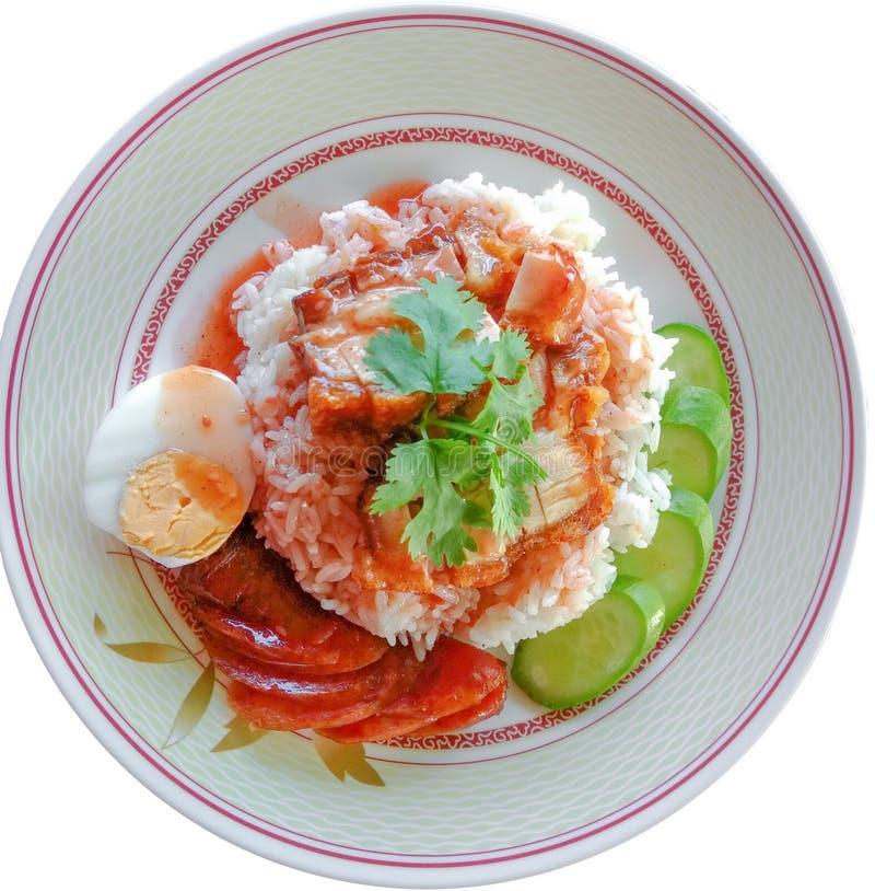 La carne di maiale del riso ha fritto la carne di maiale del fermento e la carne di maiale croccante fotografie stock