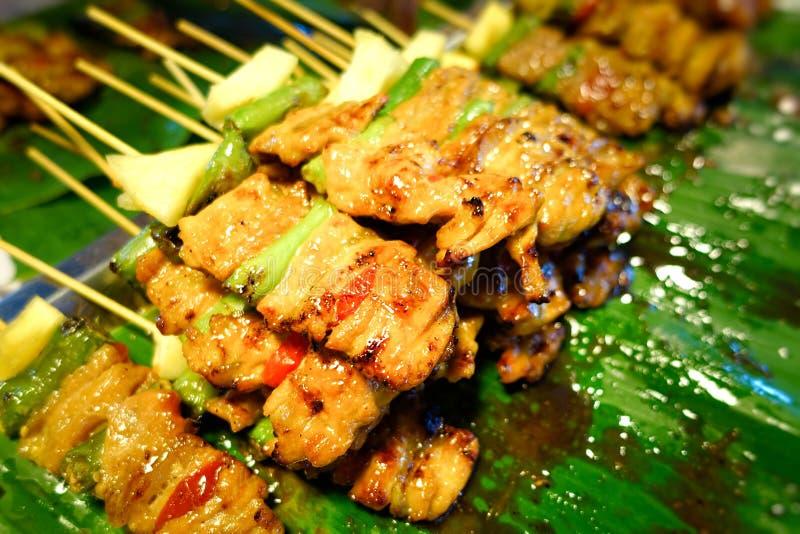 La carne di maiale satay fotografia stock libera da diritti