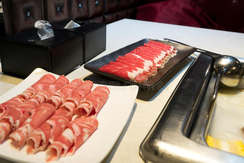 La carne e la lampada fanno scorrere per stile cinese di shabu, squisito fotografia stock