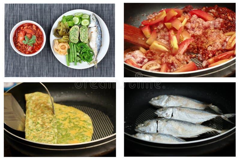 La carne ed il pomodoro piccanti immergono, Nam Prik Ong, con il piatto laterale fotografia stock