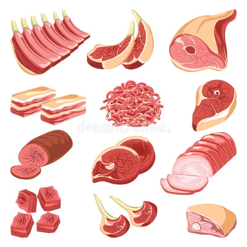 La carne fresca corta la colección colorida del vector en blanco libre illustration