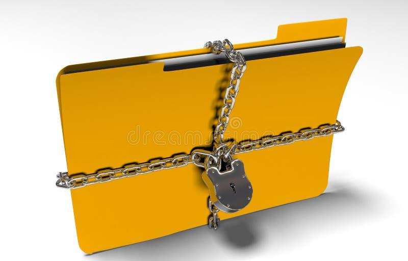 La carpeta con la cadena y el candado, datos ocultados, seguridad, 3d rinde foto de archivo libre de regalías