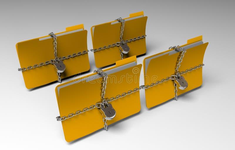La carpeta con la cadena y el candado, datos ocultados, seguridad, 3d rinde fotos de archivo libres de regalías