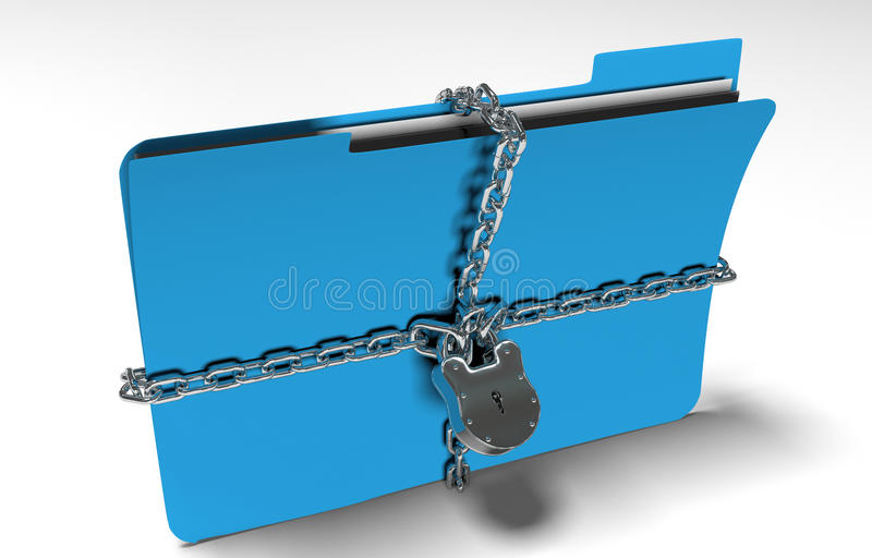 La carpeta con la cadena y el candado, datos ocultados, seguridad, 3d rinde imagen de archivo