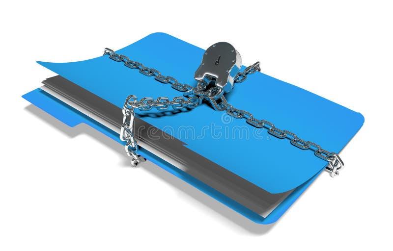 La carpeta con la cadena y el candado, datos ocultados, seguridad, 3d rinde imágenes de archivo libres de regalías