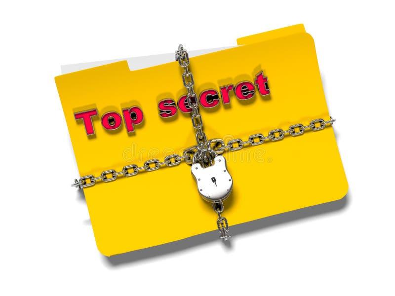 La carpeta con la cadena y el candado, datos ocultados, seguridad, 3d rinde stock de ilustración