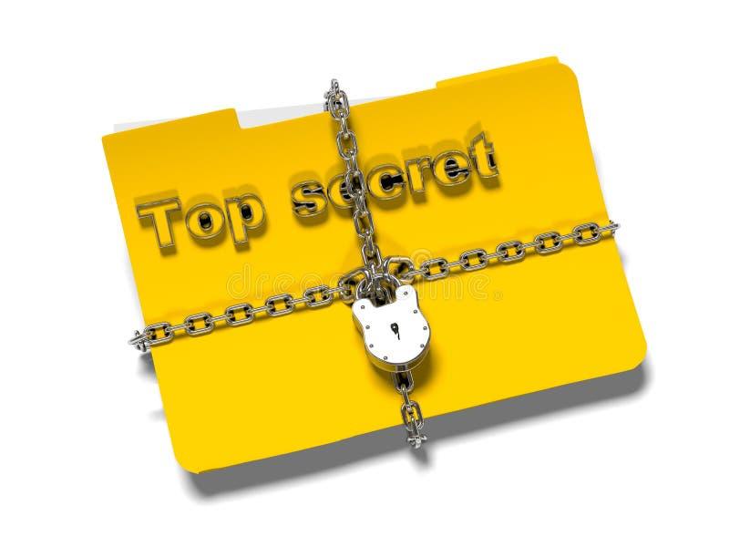 La carpeta con la cadena y el candado, datos ocultados, seguridad, 3d rinde imagenes de archivo