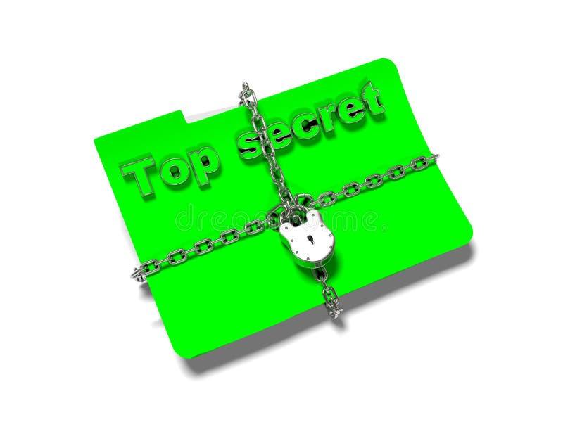 La carpeta con la cadena y el candado, datos ocultados, seguridad, 3d rinde ilustración del vector