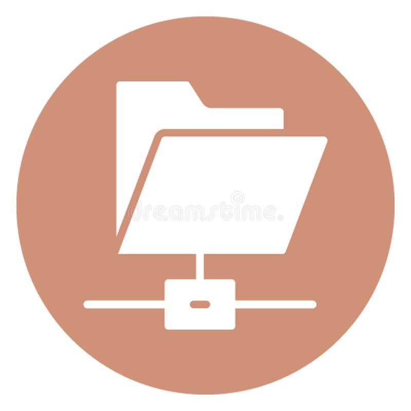 La carpeta conectada aisló el icono del vector que puede modificarse fácilmente stock de ilustración
