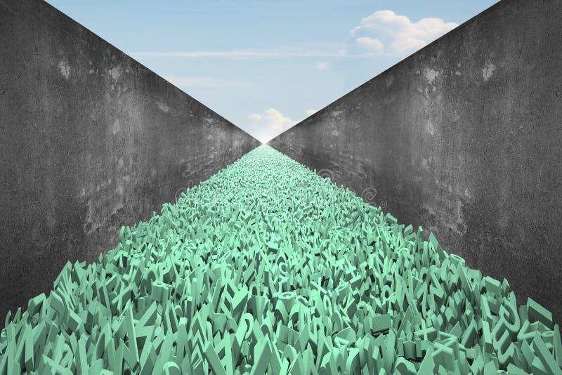 La carretera de datos grande, caracteres enormes 3d forma el camino, muro de cemento