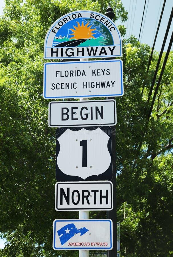 La carretera escénica de la Florida firma adentro Key West, la Florida, los E.E.U.U. imagen de archivo
